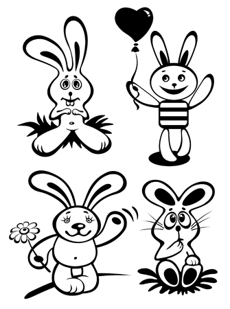 Cartoon rabbits set isolated on a white background. Vector