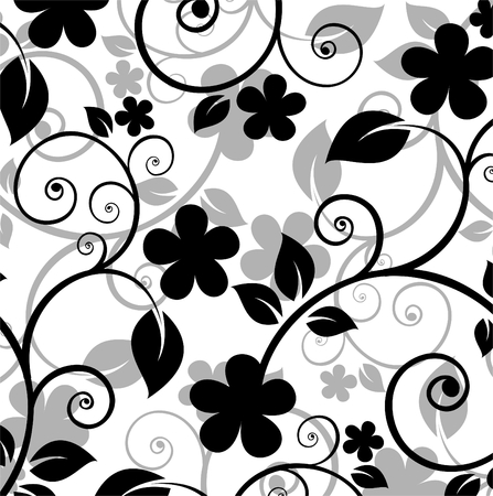 black and white image: Black floral pattern on a white background.
