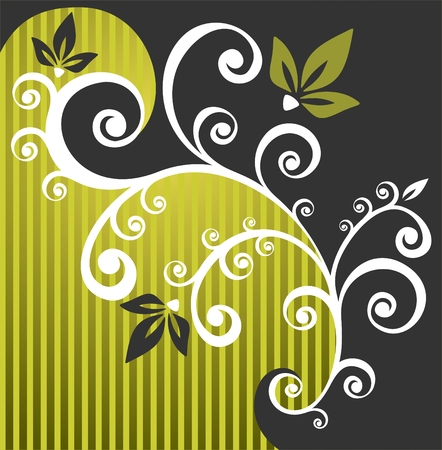 White floral pattern on a green striped background.