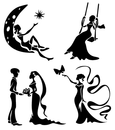 man in the moon: Stylized romantic silhouettes set isolated on a white background.