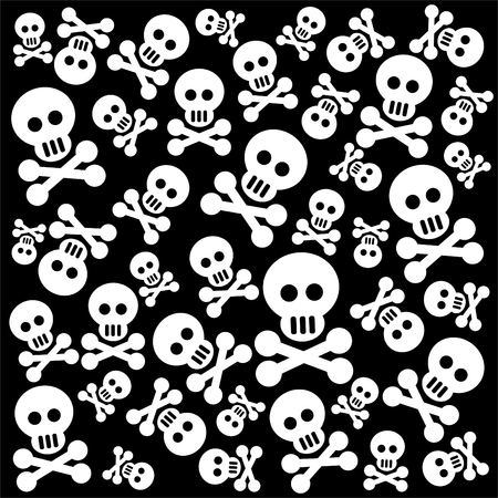 emo: Grunge pattern with skulls and bones on a black background.