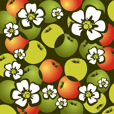 Stylized apples and flowers on a green background. Vector