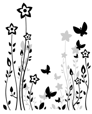 Stylized flower silhouettes and butterflies on a white background.