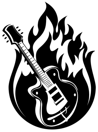 guitar illustration: Stylized electric guitar and fire on a white background.