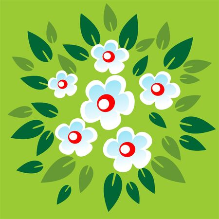 Stylized white flowers on a green leaves background. Vector