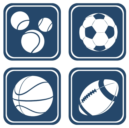 Set from four balls isolated on a blue background. Vector