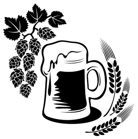 白い背景で隔離の様式化されたビールのジョッキ。デジタル イラスト。  イラスト・ベクター素材