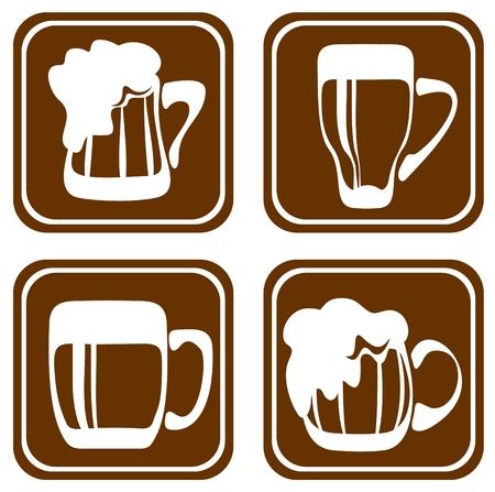 stout: Jarras de cerveza estilizada aisladas sobre fondo blanco. Ilustraci�n digital.
