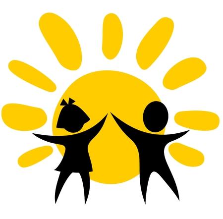 kind silhouet: Gestileerde meisje en jongen op een zondag achtergrond. Stock Illustratie