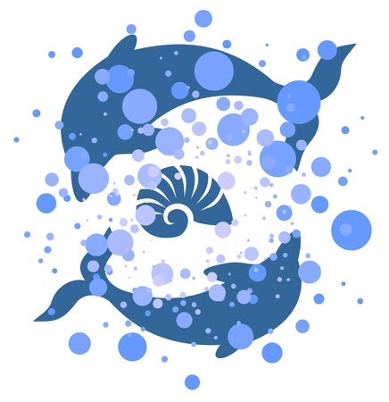 Two dolphins on a white background with dots. Vector