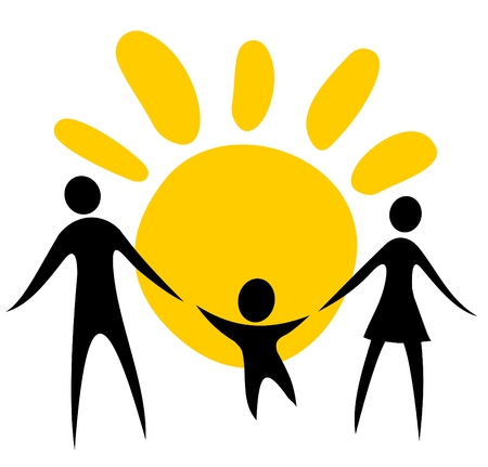 Happy family silhouettes on a sun background.