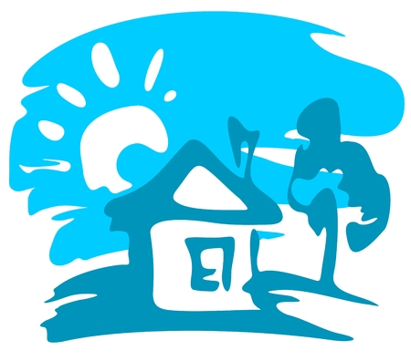 Cartoon rural house and tree on a blue background. Vector