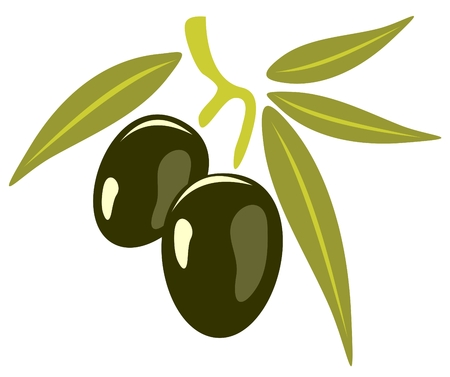 Stylized olives isolated on a white background.