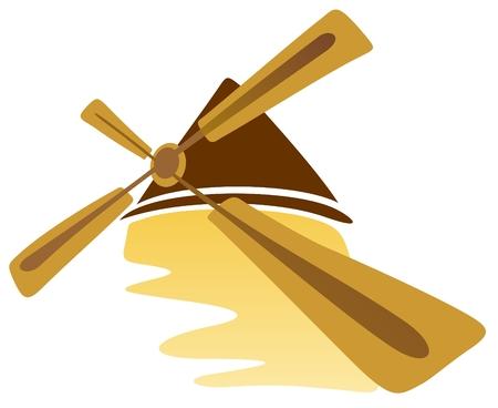 Stylized windmill isolated on a white background. Illustration