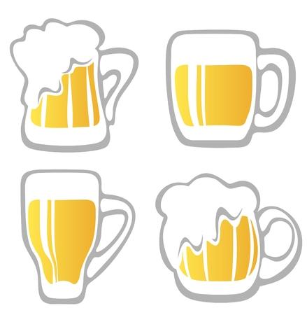 Stylized beer mugs isolated on a white background. Digital illustration.