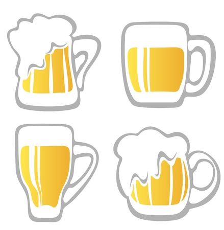 beer background: Stylized beer mugs isolated on a white background. Digital illustration.