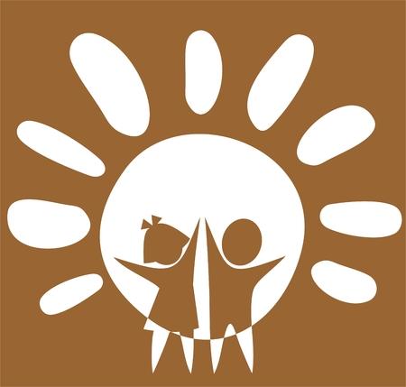 Chica estilizado y chico sobre un fondo de sol.  Ilustración de vector