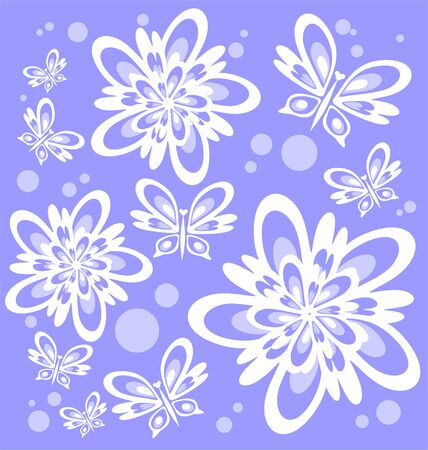 Stylized flower silhouettes and butterflies on a blue background. Vector