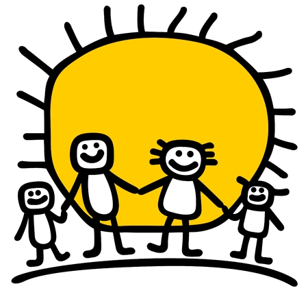 Happy family silhouettes on a sun background. Vector