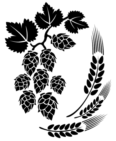 hop: Stylized hop and ears on a white background.
