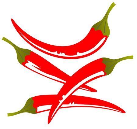 Stylized red pepper  isolated on a white background.