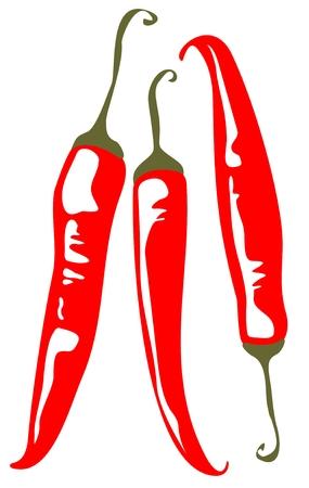 3 つの赤唐辛子、白の背景上に分離されて様式化されました。  イラスト・ベクター素材
