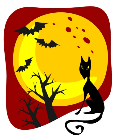 Cartoon black cat and moon. Halloween illustration. Vector