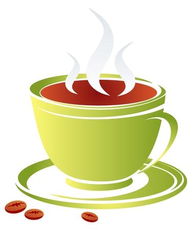 様式化されたコーヒーのカップは、白い背景で隔離されました。