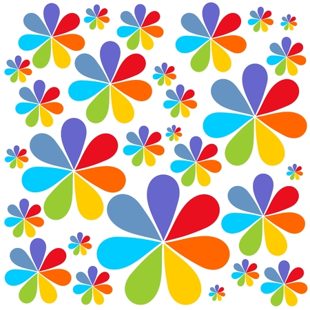 Stylized cartoon flowers on a white background. Vector
