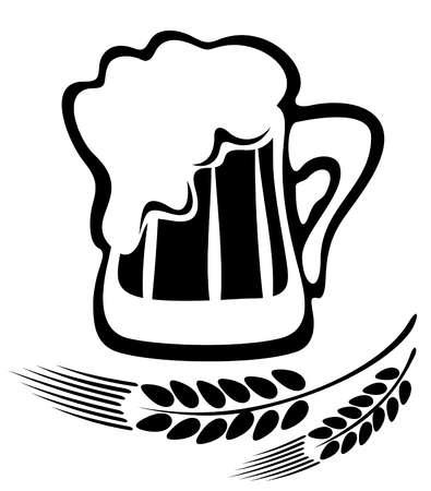 Gestileerde pul bier en oren geïsoleerd op een witte achtergrond. Vector Illustratie