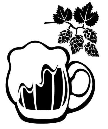 様式化されたビール ジョッキと白い背景で隔離のホップ。