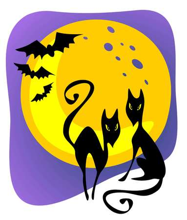 Two cartoon black cats and moon. Halloween illustration. Vector