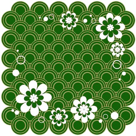 Stylized floral pattern on a green abstract background. Vector