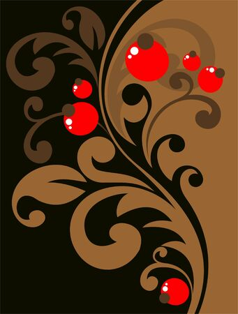 Stylized floral pattern with curves and berries on a dark background. Stock Vector - 5310073