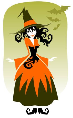 Nice witch and bats on a green background. Halloween illustration. Vector