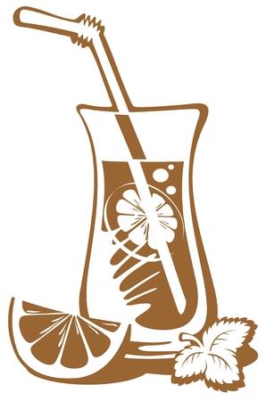 limonada: Vaso de limonada estilizado con una rodaja de lim�n aislado en un fondo blanco. Vectores