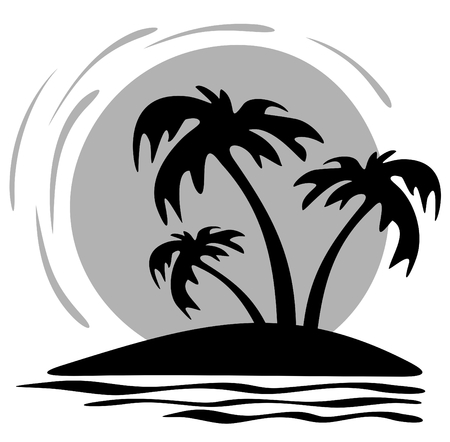 Three palm trees and sun on a white  background. Illustration