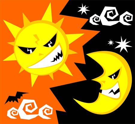 Cartoon funny sun and moon. Halloween illustration. Vector