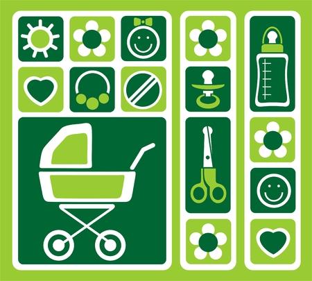 Newborn symbols set isolated on a green background. Illustration
