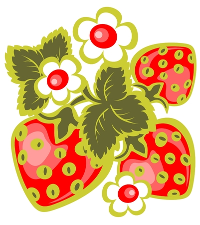 Cartoon strawberry and flowers isolated  on a white background.