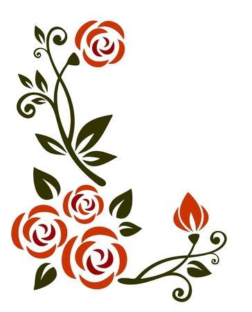 白い背景の上の花を持つ様式化されたパターン。  イラスト・ベクター素材