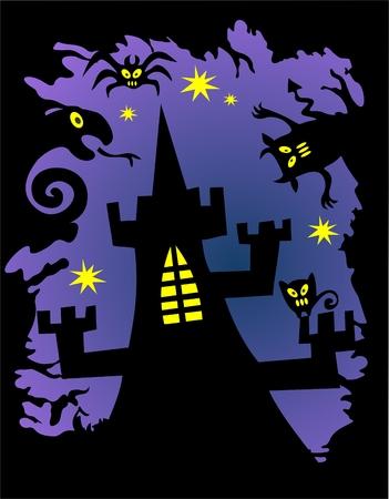 castle silhouette: Black castle silhouette on a violet background. Halloween illustration.