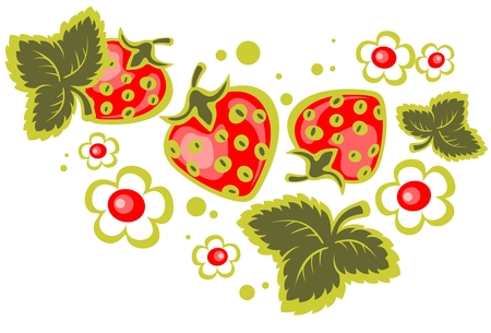 Cartoon strawberry and flowers isolated  on a white background. Vector