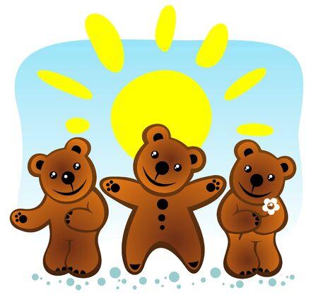 Three cartoon bears and sun on a blue background. Stock Vector - 5478834
