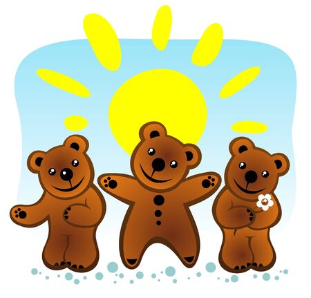 Three cartoon bears and sun on a blue background. Stock Vector - 5478834