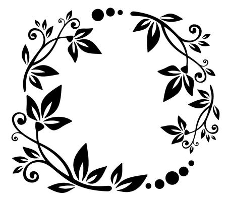 定型化された花ブラックボーダー白い背景の上。  イラスト・ベクター素材