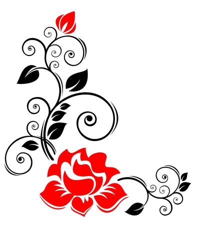 Stylized  floral border  with rose on a white background.
