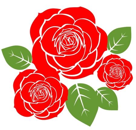 ツリー赤いバラは、白い背景で隔離されました。