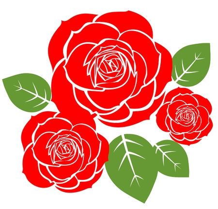 Tree red roses isolated on a white background.
