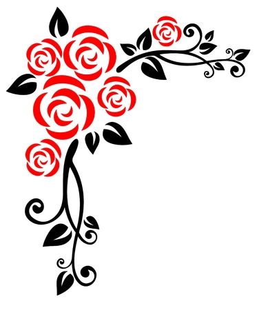 Stylized  floral pattern  with roses on a white background.